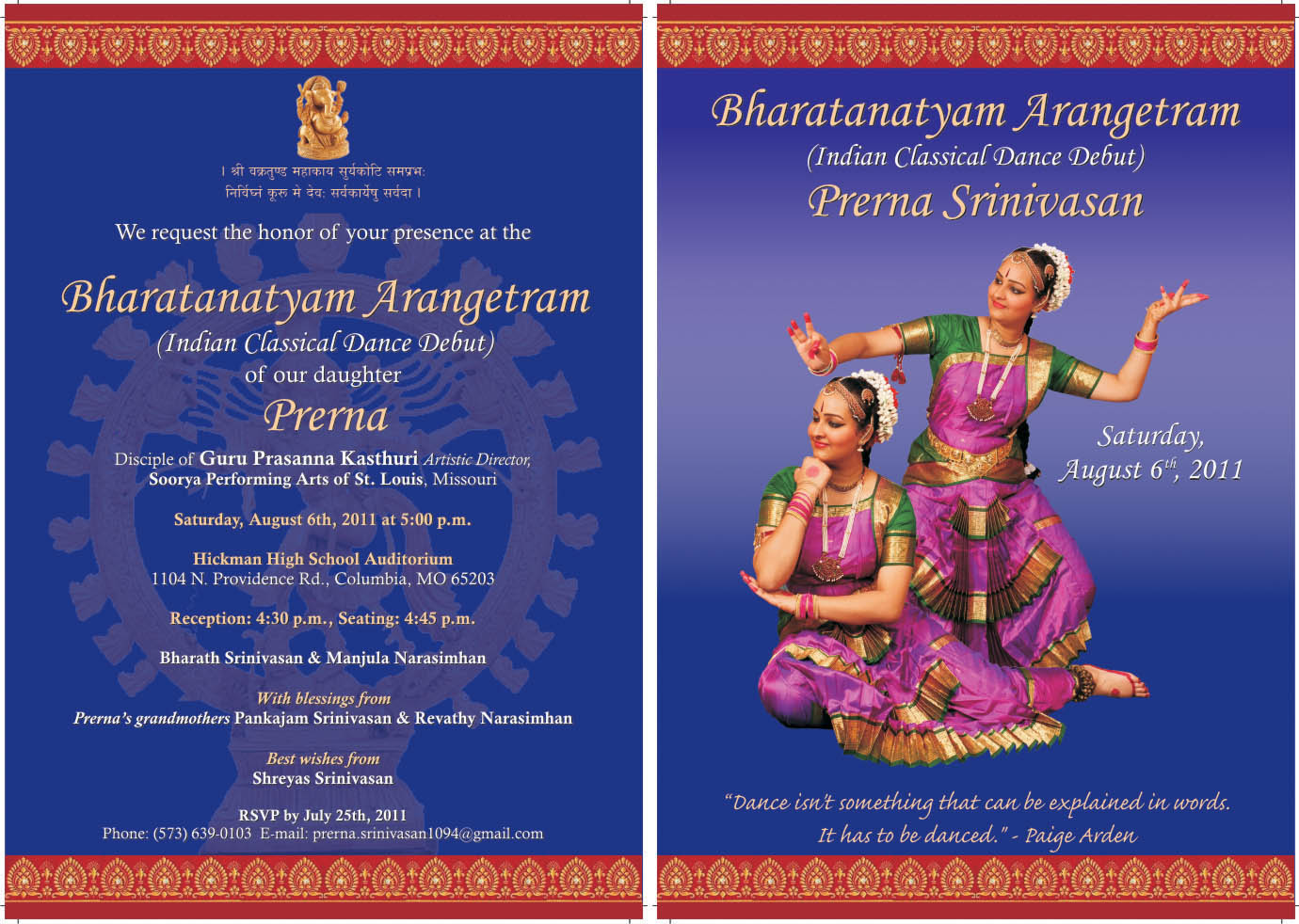 Arangetram Invitations Free Printable Invitation Template Design
